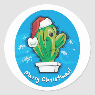 Merry Christmas Cactus Classic Round Sticker