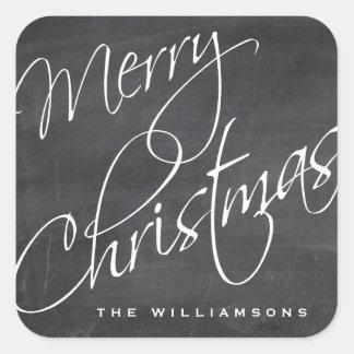 Merry Christmas Calligraphy Chalkboard Custom Square Sticker