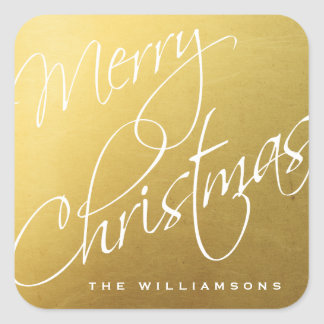 Merry Christmas Calligraphy Chic Gold Custom Square Sticker