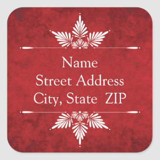 Merry Christmas Calligraphy Return Address Labels Square Sticker