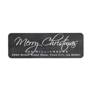 Merry Christmas Calligraphy Script Chalkboard Label