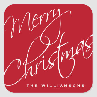 Merry Christmas Calligraphy Script Red Custom Square Sticker
