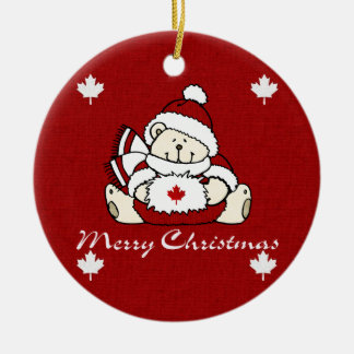 Merry Christmas Canada Bear Ceramic Ornament