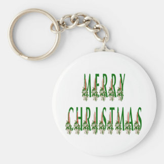 Merry Christmas Candle Font Keychain