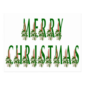 Merry Christmas Candle Font Postcard