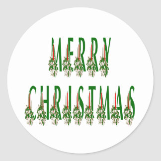 Merry Christmas Candle Font Round Sticker
