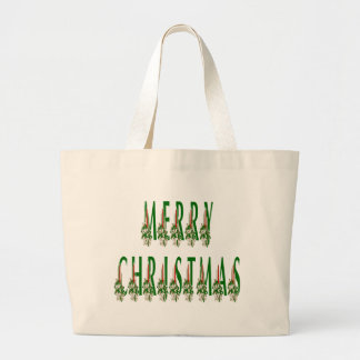 Merry Christmas Candle Font Tote Bag