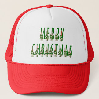 Merry Christmas Candle Font Trucker Hat