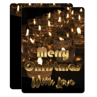 Merry Christmas Candle Lights Black Gold Text Card