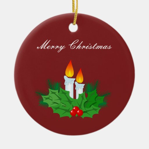 Merry christmas candle ornament zazzle