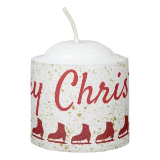 Merry Christmas candle - red ice skates