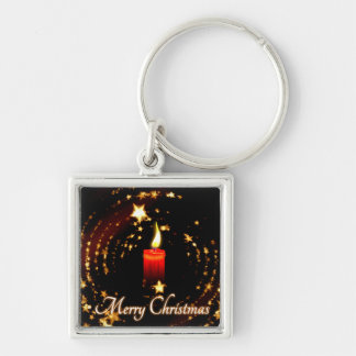 Merry Christmas candle stars illustration Keychain
