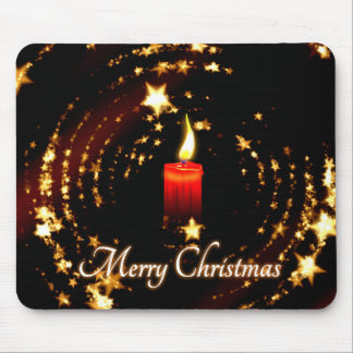 Merry Christmas candle stars illustration Mouse Pad