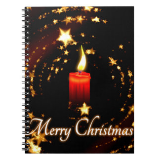 Merry Christmas candle stars illustration Note Books