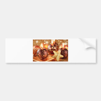 Merry Christmas Candles and Stars Bumper Sticker