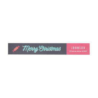Merry Christmas Candy 3D Typographic Pink Navy Wrap Around Label