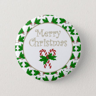 Merry Christmas Candy Cane Button