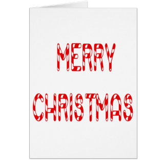 Merry Christmas Candy Cane Font Greeting Card
