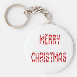 Merry Christmas Candy Cane Font Keychain
