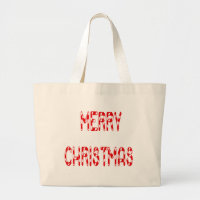 Merry Christmas Candy Cane Font Large Tote Bag