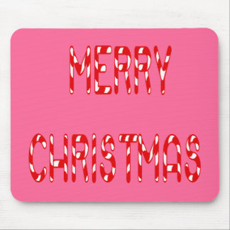 Merry Christmas Candy Cane Font Mouse Pad