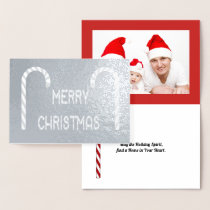 Merry Christmas Candy Cane Font, Pic, Verse, ZAtoZ Foil Card