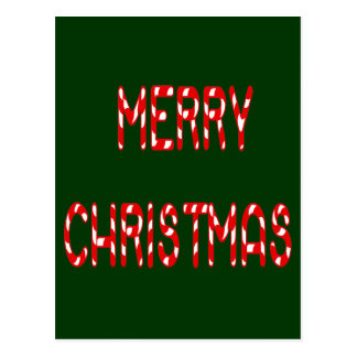 Merry Christmas Candy Cane Font Postcard