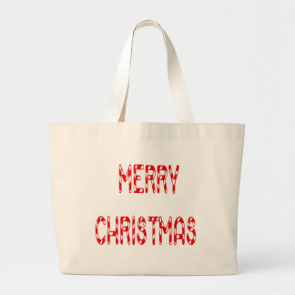 Merry Christmas Candy Cane Font Tote Bags