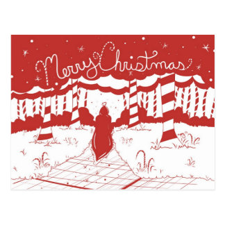 Merry Christmas - Candy Cane Forest Postcard