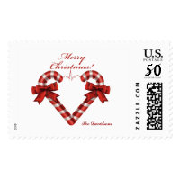 Merry Christmas Candy Cane Heart Monogram Postage