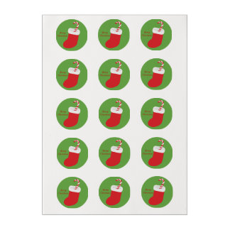 Merry Christmas Candy Cane in Stocking Edible Frosting Rounds