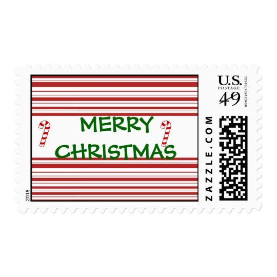 merry christmas candy cane stripe postage