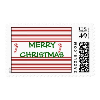merry christmas candy cane stripe postage stamp
