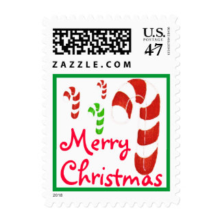 Merry Christmas Candy Canes Red & Green Postage