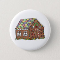 Merry Christmas Candy Gingerbread House Holiday Button