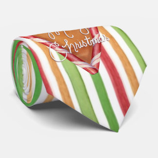 Merry Christmas Candy Striped Tie