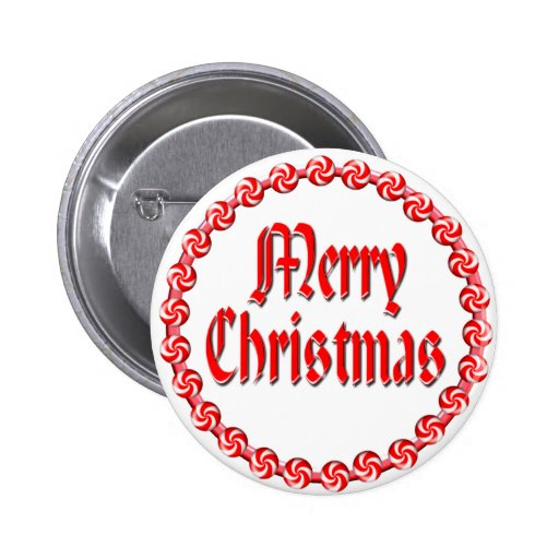 MERRY CHRISTMAS & CANDY WREATH by SHARON SHARPE Button