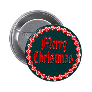 MERRY CHRISTMAS & CANDY WREATH by SHARON SHARPE Pinback Button