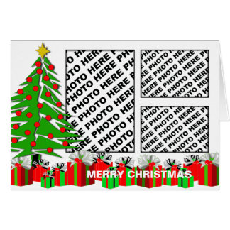 Merry Christmas Card Add 3 Photos Tree Gifts