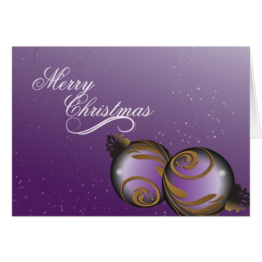 Merry Christmas Card Elegant Purple Gold Ornaments