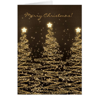 Merry Christmas Card Elegant Sparkling Trees Black