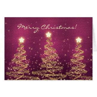 Merry Christmas Card Elegant Sparkling Trees Pink