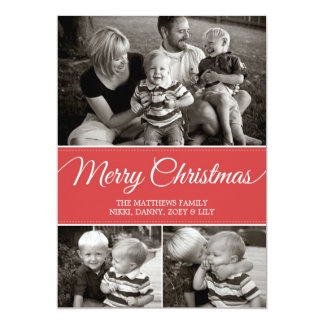 Merry Christmas Card | Flat | Red Custom Announcement