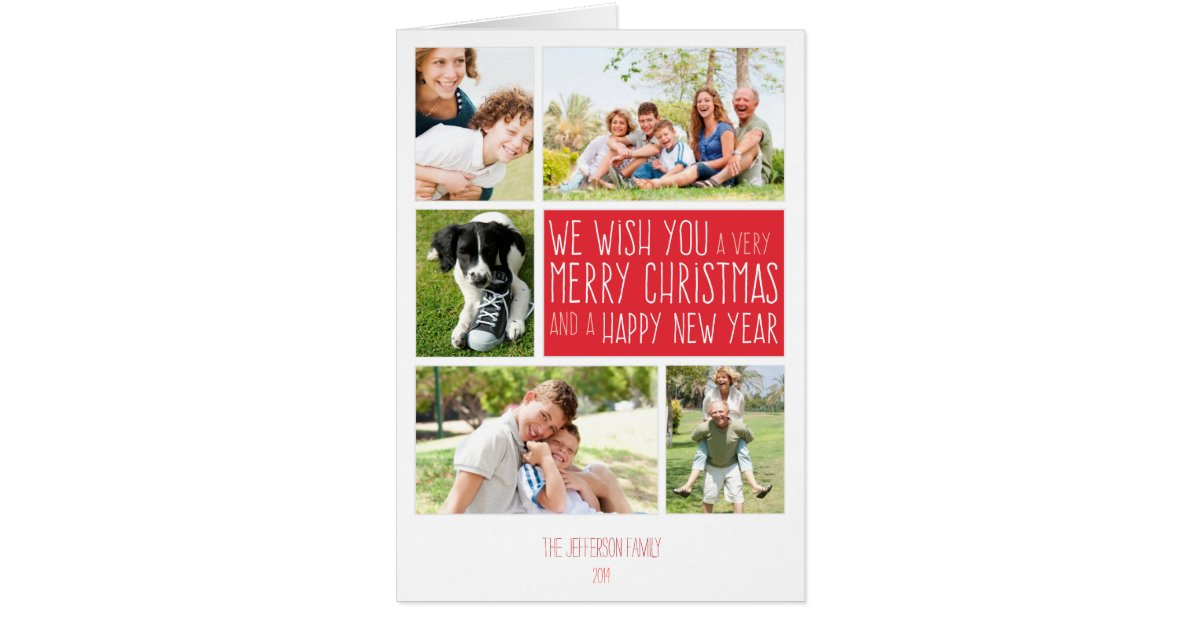 merry christmas card photo collage template zazzle. Black Bedroom Furniture Sets. Home Design Ideas