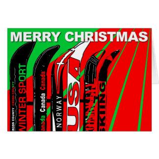 Merry Christmas Card Ski Snow Blade Winter Sport
