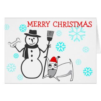 Merry Christmas Card Snowman Puppy