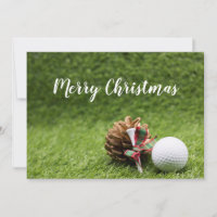 Merry Christmas card to golfer with golf ball