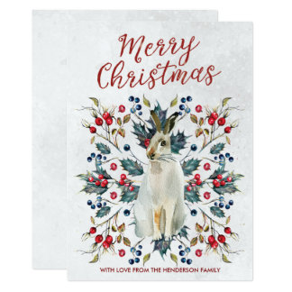 merry christmas card winter holly berries hare