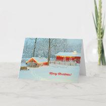 Merry Christmas Card with a Snowy Farm Scene