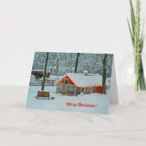 Merry Christmas Card with a Snowy Farm Scene